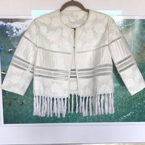 Jonathan Simkhai Cropped White Fringe Jacket
